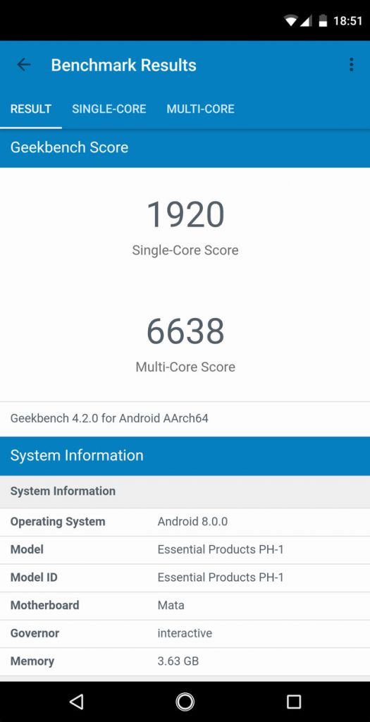 Essential Phone PH-1 GeekBenchmark