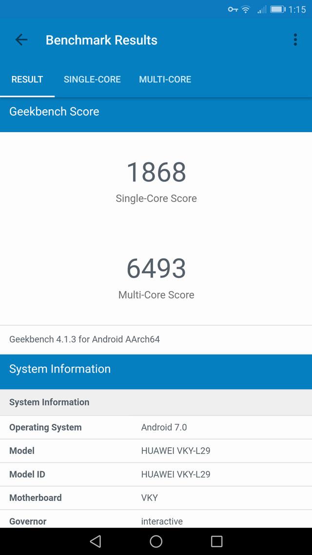 Huawei P10 Plus GeekBenchmark
