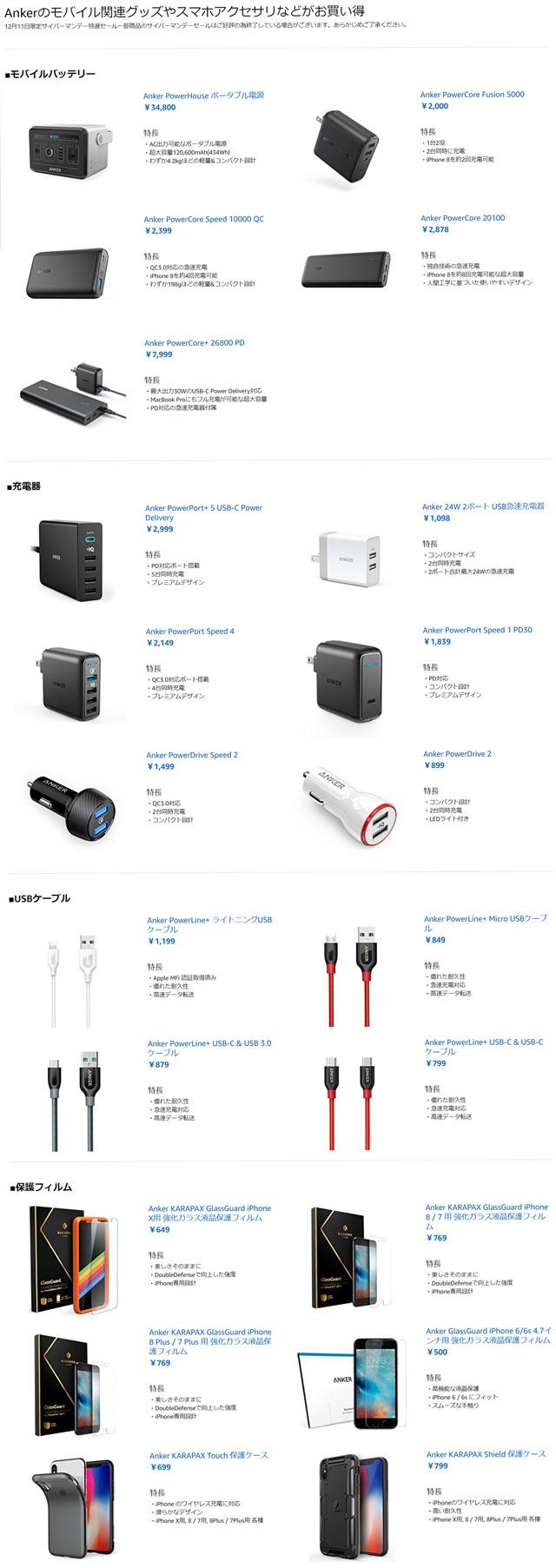 Ankerのモバイル関連グッズやスマホアクセサリなどがお買い得