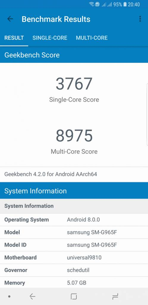 Galaxy S9+ ベンチマーク