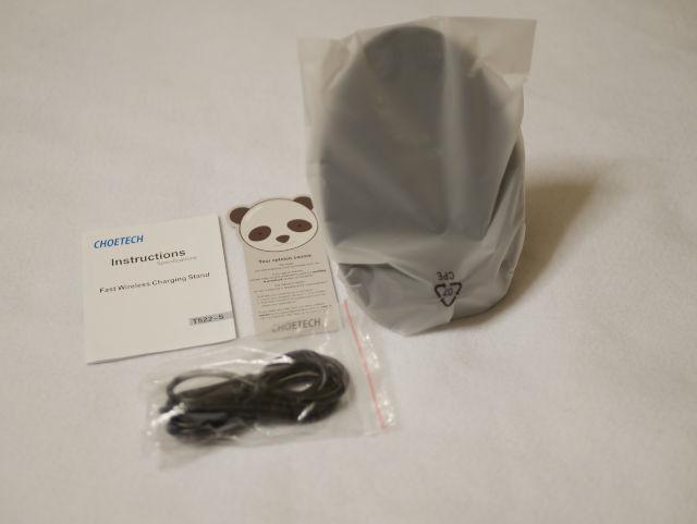 CHOETECH Qi急速ワイヤレス充電器 スタンドタイプ 冷却ファン付き T522-S 付属品