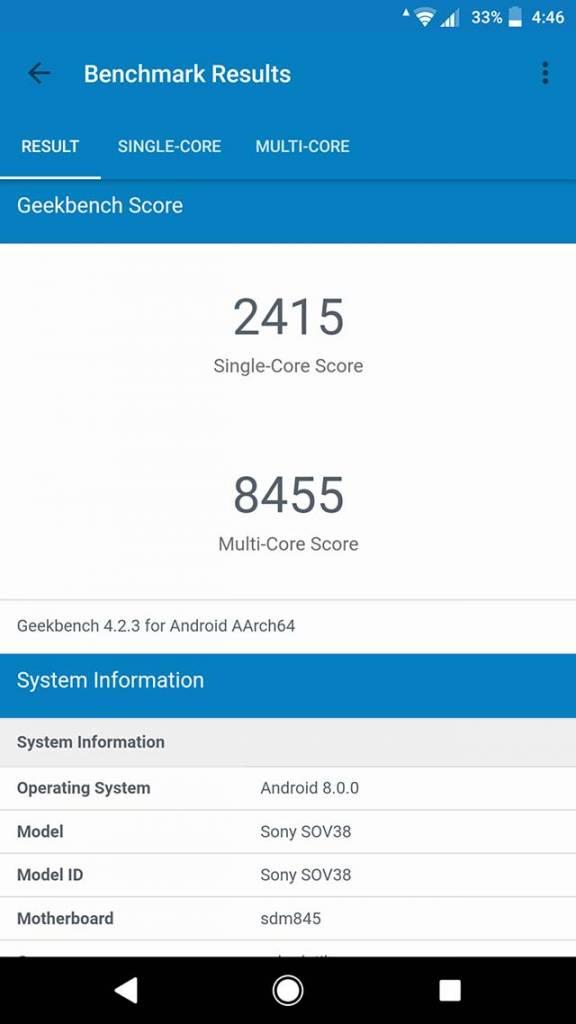 Xperia XZ2 Premium SOV38 ベンチマーク