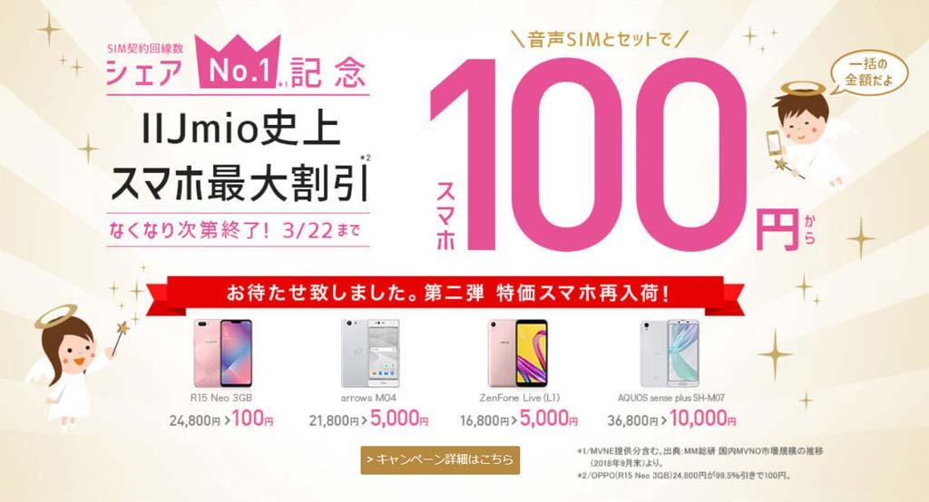 第二弾 再入荷! [シェアNo1記念]スマホ100円キャンペーン